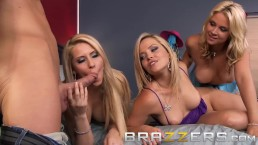 Brazzers- Johnny Sins gets share by three big boobed blondes