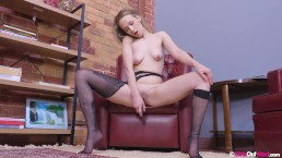 Cute blonde amateur Lexa rips her pantyhose and masturbates with vibrator