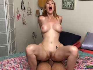 Convincing my roomate Redhead MILF Lauren Phillips to blow and fuck me