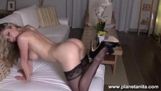 Sexy Black Stockings & Lingerie Striptease by Sexy Pornstar Anita Dark