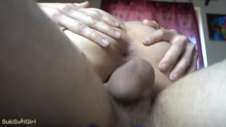 Asian cum her girlfriend sukisukigirl pussy out after hotpot dripping of pov creampie