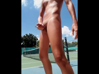 Thai boy risky public masturbation at tennis court...