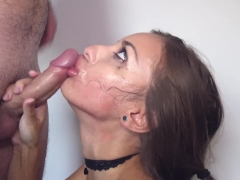 Sloppy Hard Deepthroat, Rough Mouth Fuck With Face Slapping And Big Facial