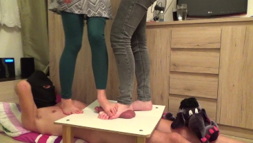 CBT Trample with two cruel ladies - part 2 (they destroy cockbox)