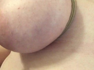 18 Year Old BBW With Tits Tied and Sucking On Her Puffy Nipples