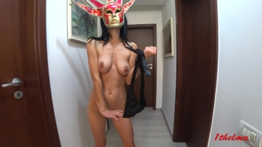 Skinny and petite girl with big tits and mask . Amateure 4k