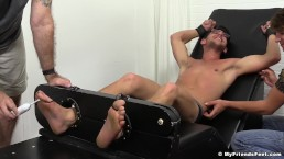 Handsome jock with glasses tickled while being tied up