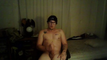 Hot White boy with glasses jerks off to porn until he cums!