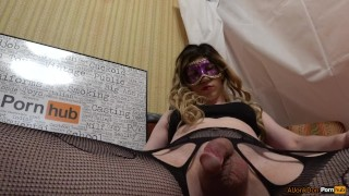 TS-girl Jerking her Cock Casting doggystyle