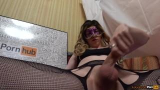 Jerking cock tsgirl her cum transsexual