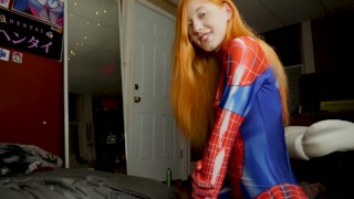 The Amazing Spider-Girl Gets Face Fucked  point of view big cock redhead cosplay roleplay blowjob big dick young 4k swallow deepthroat spit teenager facial mary jane spiderman