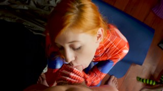 Amazing spidergirl fucked face gets the cock facial