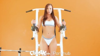 Multiple workout cumk creampie oozing teen style