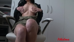 Petite skinny naughty office girl with big tits mastubate at work