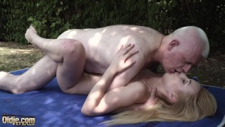 Old nick has sex with young girl and makes the teem cum hard
