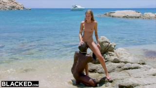 On blacked the blonde beach black man tourist strong fucks perky tits