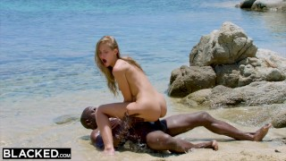 BLACKED Strong black man fucks blonde tourist on the beach Orgasm whooty