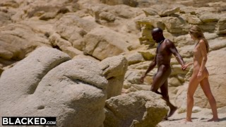 On strong fucks black blonde tourist the beach blacked man perky interracial