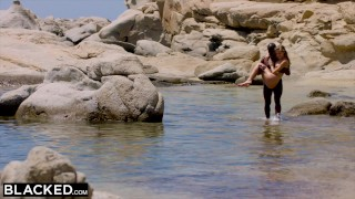 BLACKED Strong black man fucks blonde tourist on the beach Boobs black
