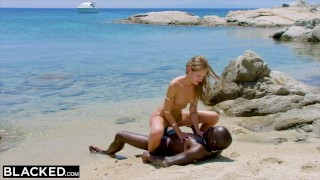 BLACKED Strong black man fucks blonde tourist on the beach Licking fetish