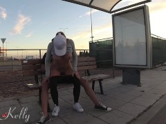 Slutty girlfriend with big ass fucked in the bus station. 4K