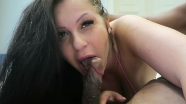 Sexy brunette with big huge tits gets ass fucked and facial by a bbc