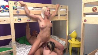 Fake Hostel Petite backbacker babe fucks an absolute unit in threesome porno