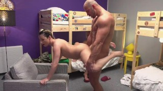 Fake Hostel Petite backbacker babe fucks an absolute unit in threesome Perky figure