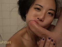 BRUTAL Blowjob in the Shower WMAF asian sucks dick while he Drives stick!