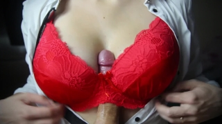 Titfuck in a red bra ends with cum between boobs Tits view