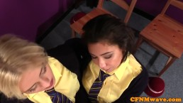 Dominant schoolgirl humiliate naked teacher