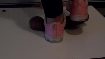 CBT Trampling with dirty pink skeakers