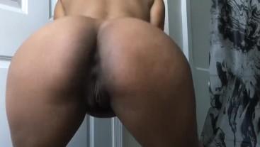 Twerking in Black Booty Shorts
