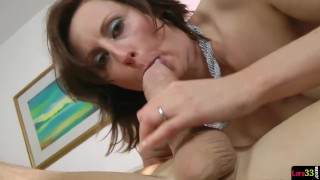 Gorgeous milf seduces police officer porno