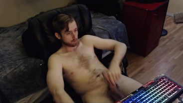 """GAMER SHOWS OFF HUGE SOFT UNCUT DICK. 5"""" SOFT, 7"""" HARD. PLAYING CONSOLE"""