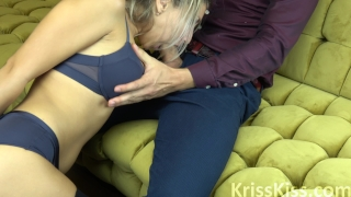 Blonde Suck Huge Cock and Ride him Point homemade