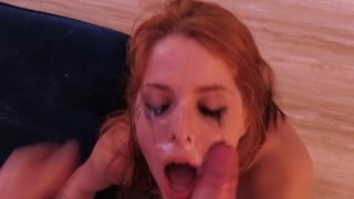 HARDCORE BLOWJOB and ANAL ends in FACIAL and alot of makeup tears. Pussy licking