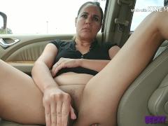Huge BBC dildo pussy stretching in public parking lot