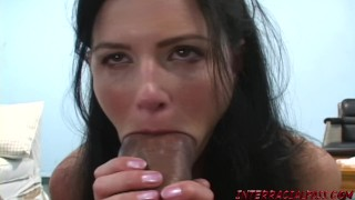 India Summer cannot wait to get her lips around Zilla's big black cock Big facial