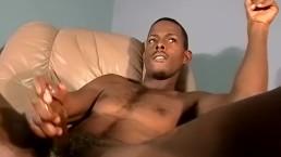 Super hot ebony amateur makes his cock spray jizz