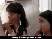 Ebony Stepsisters Take Turns To Fuck Lucky Blind Date