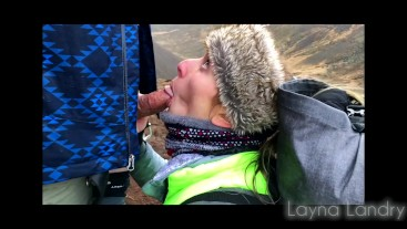 Horny Hiker Babe Sucks BF's Cock on Iceland Mountain