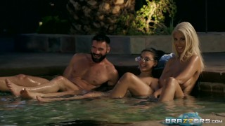 Official Brazzers House Season 3 Ep1 Lena Paul Hosts a Wild Wrestling Orgy Couple tits