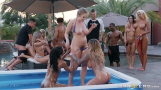 Official Brazzers House Season 3 Ep1 Lena Paul Hosts a Wild Wrestling Orgy Step smalltits