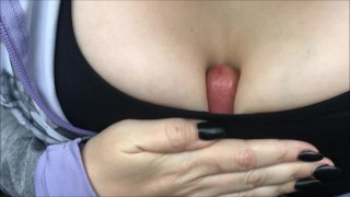 Public Sports Bra Titfuck, Cumming Between Her Tits At The Campground Facial mouth
