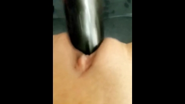 Top view Black dildo going in my wet latin pussy