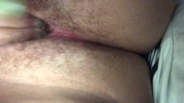 playing with tight hairy pink pussy until it creams