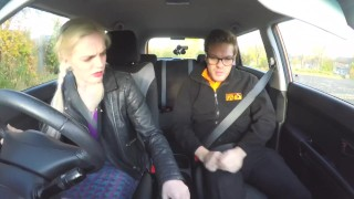 Fake Driving School Spunk covered pussy for busty British babe Alice Judge porno