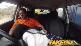 Fake Driving School Spunk covered pussy for busty British babe Alice Judge Sex intimate
