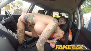Fake Driving School Spunk covered pussy for busty British babe Alice Judge Point ass